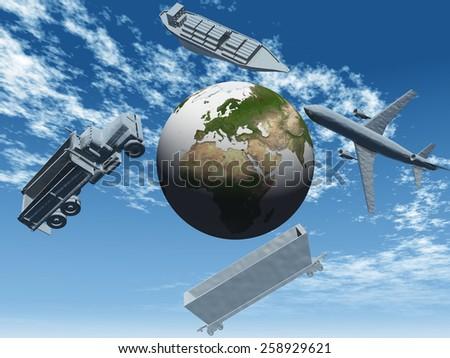 global transportation - stock photo