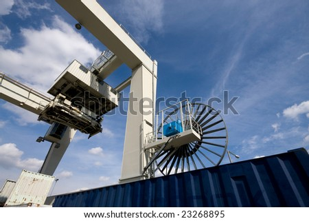 global transportation with container and cranes - stock photo