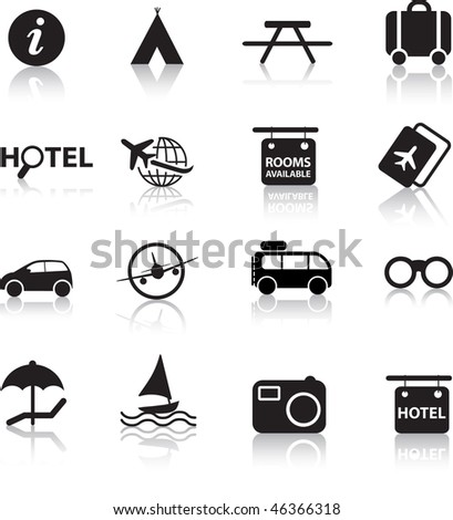 global travel and transport silhouette icon set - stock photo
