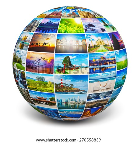 Global travel media world globe concept - picture sphere with travel images isolated on white. All photos are from my portfolio. - stock photo