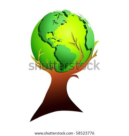Global tree - stock photo