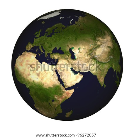 Global view on Asia, centered on the Persian Gulf - stock photo