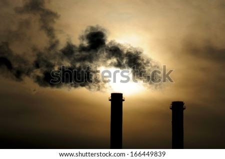 Global Warming, Air Pollution, Chimneys - stock photo