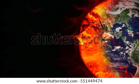 Global warming art concept. Earth burned by coal combustion. Elements of this image furnished by NASA