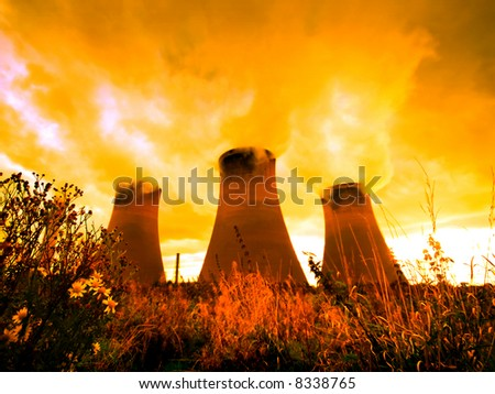 Global Warming at sunset - stock photo