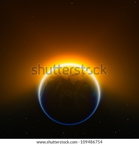 Global warming background - glowing planet Earth in space. Elements of this image furnished by NASA.