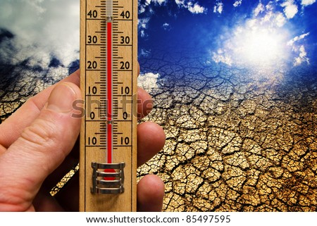 Global warming, climate change, hot weather, dry earth - stock photo