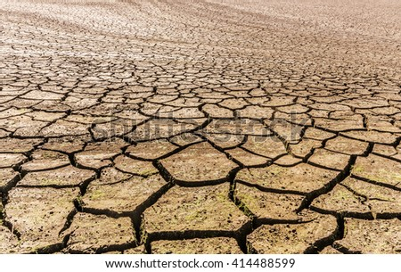 Global warming concept. drought cracked desert landscape - stock photo