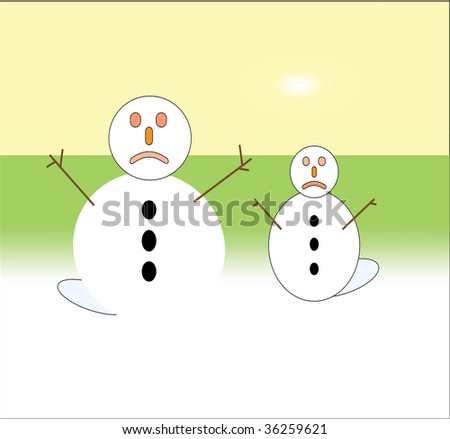 Global warming concept illustration of melting snowmen under hot sun - stock photo