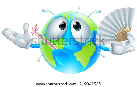 Global warming concept of a very hot globe character with a fever sweating, fanning with a paper hand fan and bursting a thermometer - stock photo