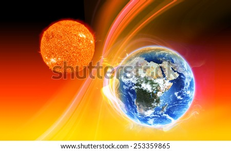Global Warming Concept. Sun heating the earth atmosphere. Elements of this image furnished by NASA