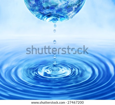 Global warming concept, water flowing away from Earth - stock photo