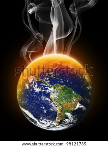 Global Warming Destroying the Earth (images of the earth and moon are public domain images from NASA)