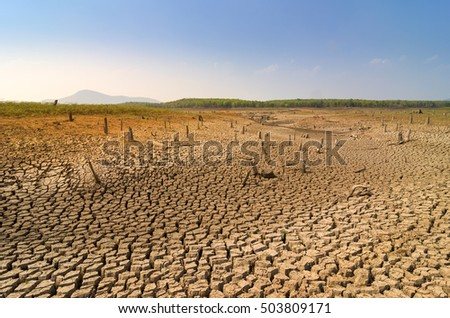 Global warming, Drought in the summer, the ground is dry reservoir of Mae Moh, Lampang, Thailand.