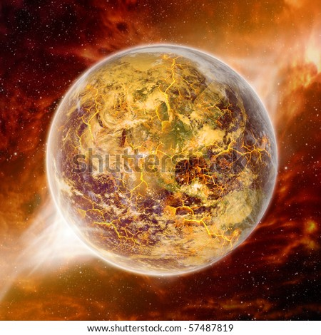 Global warming effect on earth - stock photo