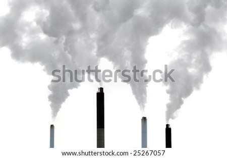 global warming factory emissions on white background - stock photo