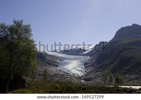 global warming glacier in north of Norway - stock photo