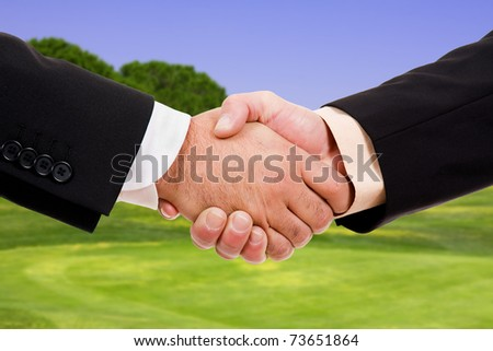 Global warming handshake - stock photo