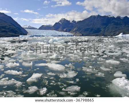 Global warming - Icebergs from the San Rafael Glacier in Patagonia, Chile - stock photo