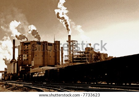 Global Warming image of vintage mill in america [noise/ film grain added] for impact - stock photo