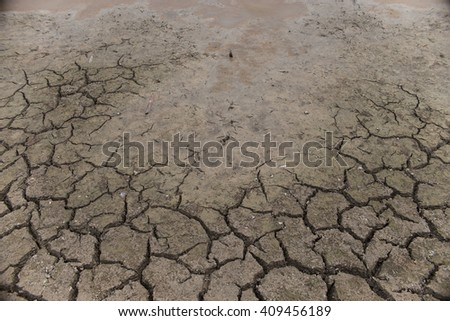 Global warming issue  Cracked earth and Dry water is soft focus - stock photo
