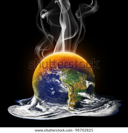 Global Warming Melting the Earth - stock photo
