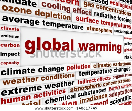 Global warming message concept. Environmental damage creative warning poster - stock photo