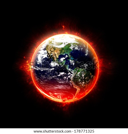 Global Warming on Black - Elements of this Image Furnished by NASA - stock photo
