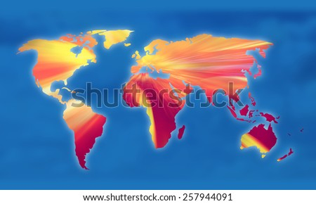 Global warming on the world map illustration. - stock photo