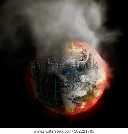 Global warming? The sun's energy multiplied? 2012? Nuclear War? Your choice! This earth irradiation concept is an awesome depiction of doomsday. Elements of this image furnished by NASA. - stock photo