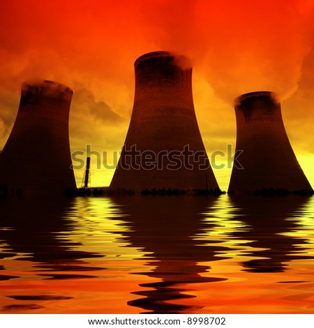 Global warming - The tide is rising on a power plant at sunset... - stock photo