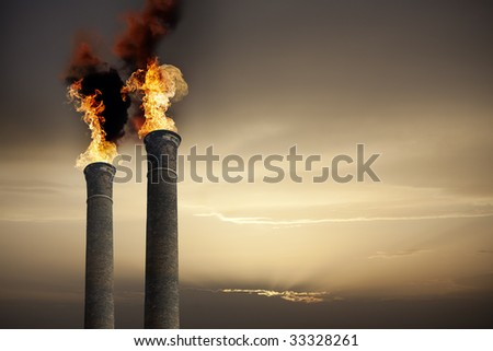 Global Warming theme with chimneys and flames - stock photo