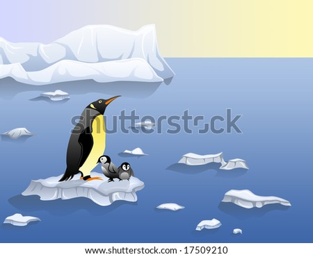 Global warming victims- penguins - stock photo