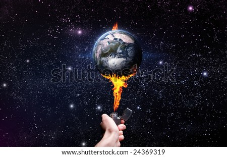 Global warming with lighter held to earth. - stock photo