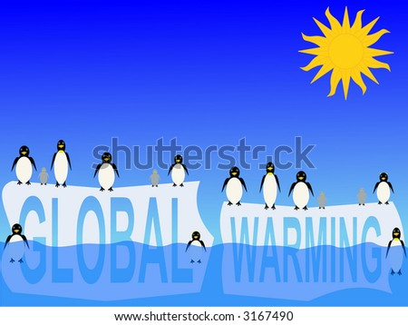 global warming with penguins on icebergs illustration - stock photo