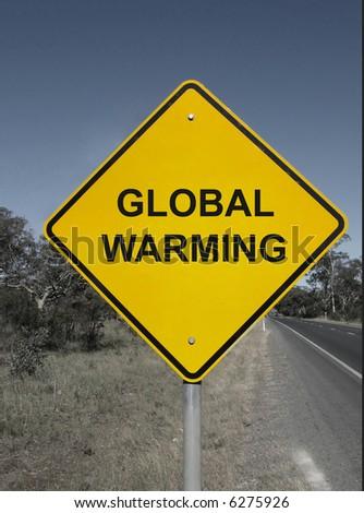 Global warming - yellow warning sign. - stock photo