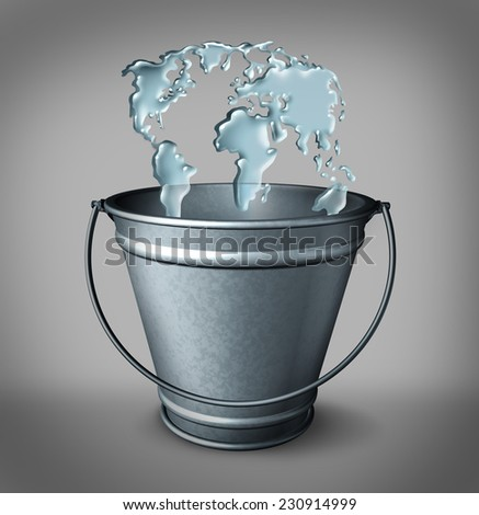 Global water concept as a group of water drops in a metal container shaped as a world map as a drop in the bucket metaphor and environmental issues as clean drinking for the international community. - stock photo