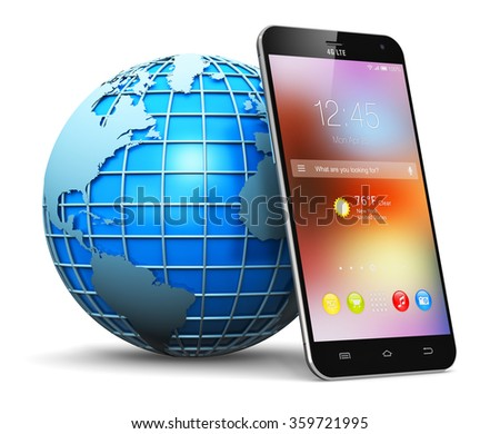 Global wireless communication technology and mobility internet web business concept: blue Earth globe world planet with map and smartphone with color icons and buttons isolated on white background - stock photo