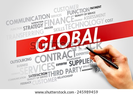 GLOBAL word cloud, business concept - stock photo