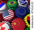Global world economy machine with U.S.A and Europe  in the center represented by gears and cogs with the countries flags of Greece Russia China Canada Germany Brazil and Britain representing trade.. - stock photo
