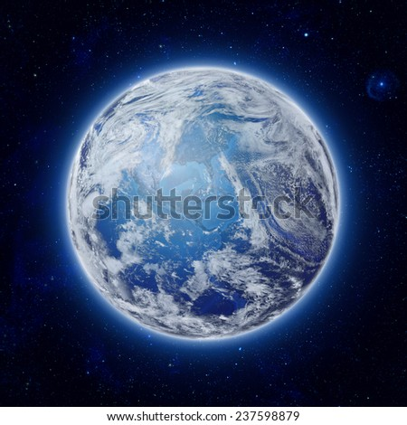 global World in space, Blue Planet Earth with some clouds and stars in the dark sky. Elements of this image furnished by NASA - stock photo