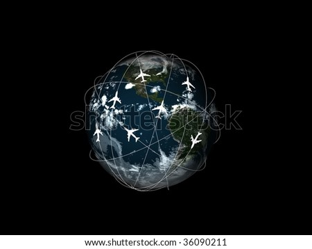 global world travel on black - stock photo