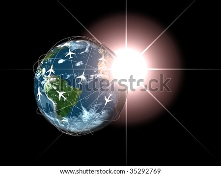 global world travel with sunrise - stock photo