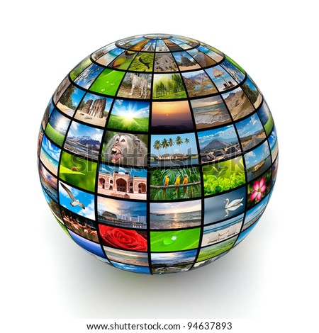Global worldwide information media concept - stock photo