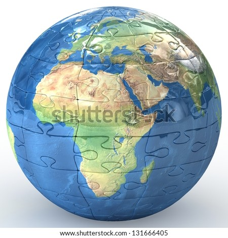 Globalization concept. Earth puzzle on white background. 3d Elements of this image furnished by NASA