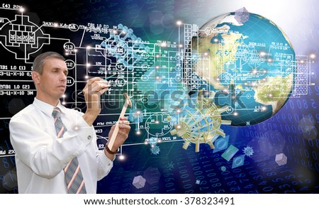 Globalization Cosmos engineering science technology.Generation - stock photo