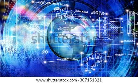Globalization  Engineering designing  technology - stock photo