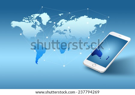 Globalization or Social network concept background with new generation of mobile phone - stock photo