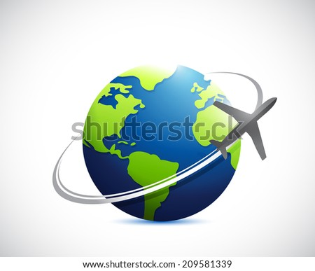 globe and airplane route illustration design over a white background - stock photo