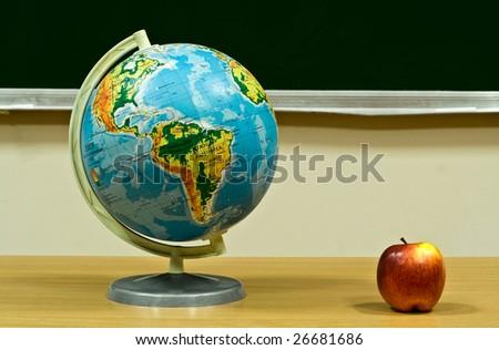 globe and apple.jpg - stock photo